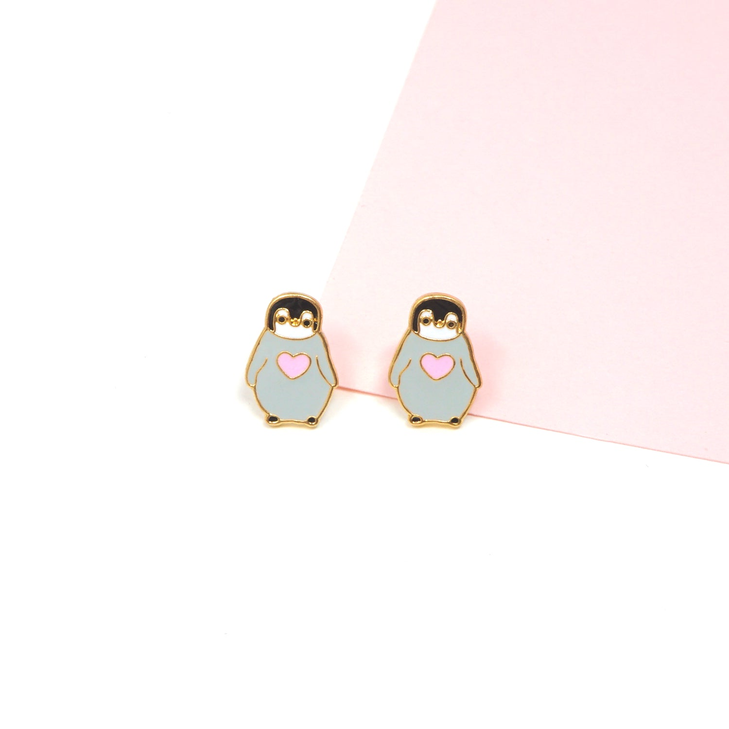 Handcrafted Penguin with Heart Enamel Stud Earrings