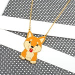 Handcrafted Shiba Inu Enamel Long Necklace