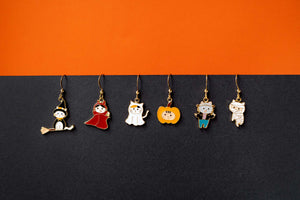Halloween Cat Mismatched Enamel Earrings