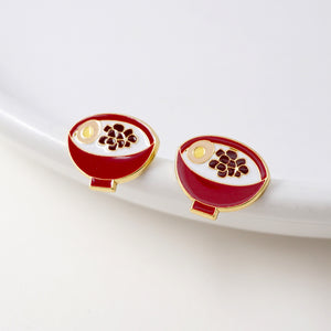NEW! Braised Pork On Rice Enamel Stud Earrings