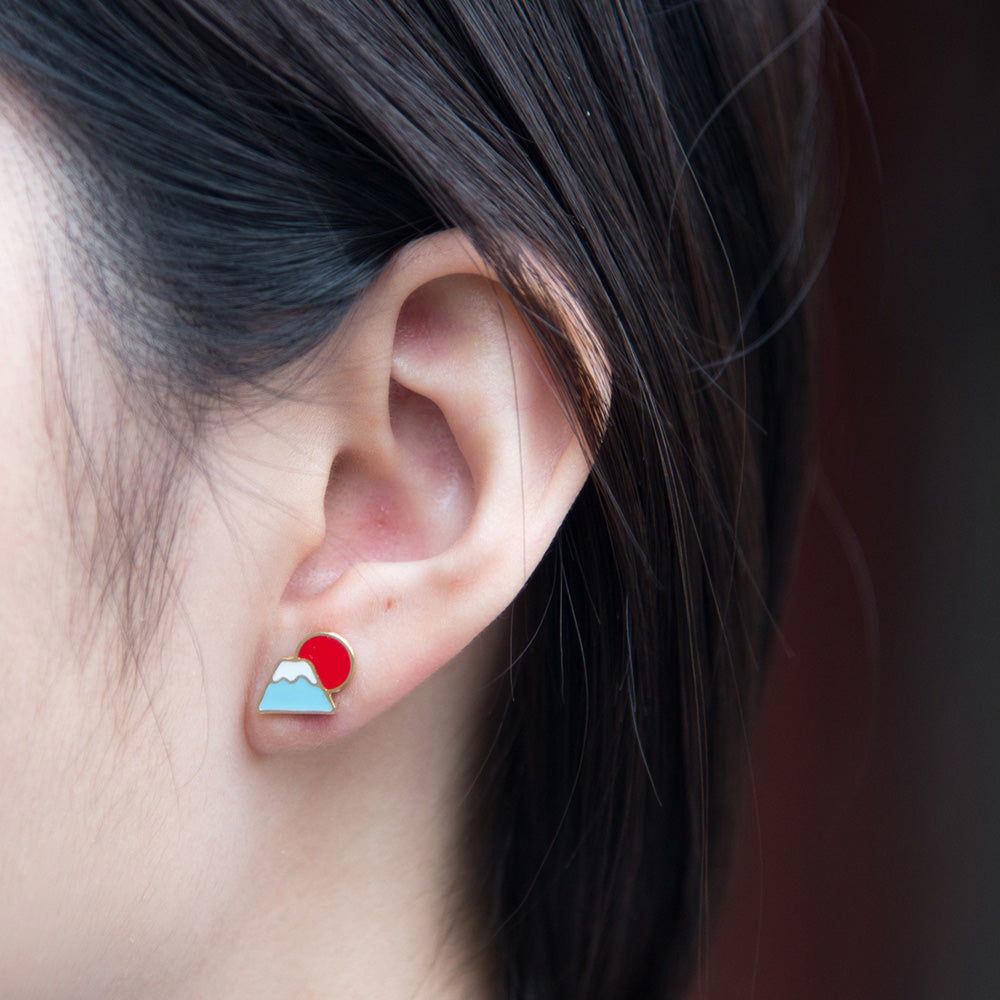 Handcrafted Mt. Fuji Sunrise Enamel Stud Earrings