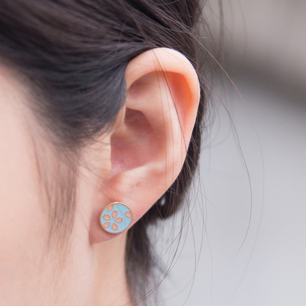 Handcrafted Sakura Light Blue Enamel Stud Earrings