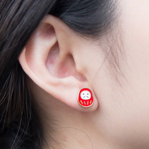 Handcrafted Daruma Enamel Stud Earrings