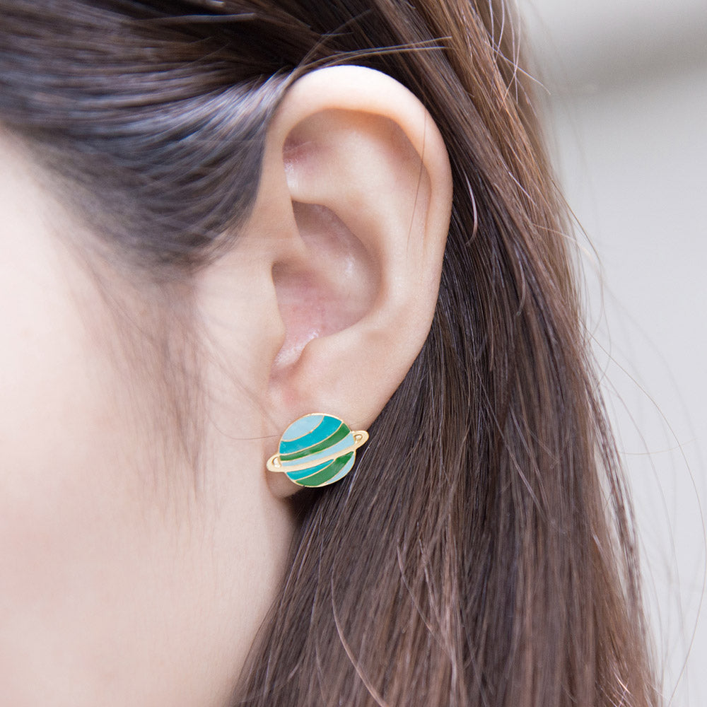 Green Planet Enamel Stud Earrings