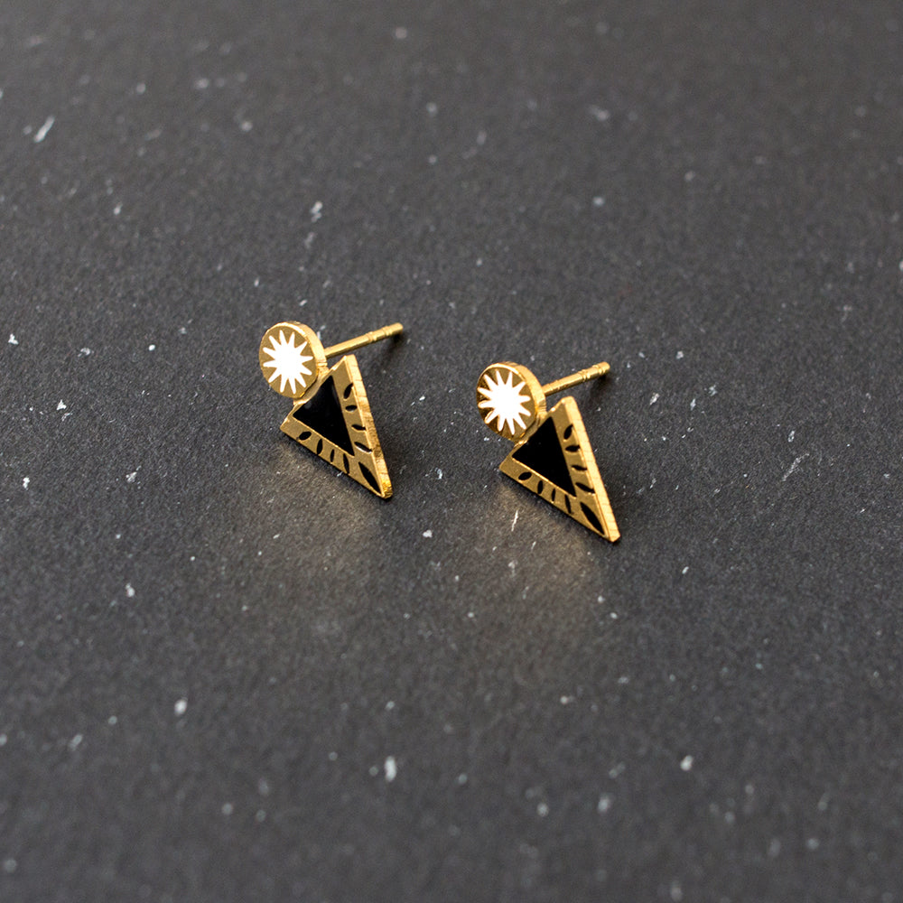 Handcrafted Mysterious Bravery Enamel Stud Earrings