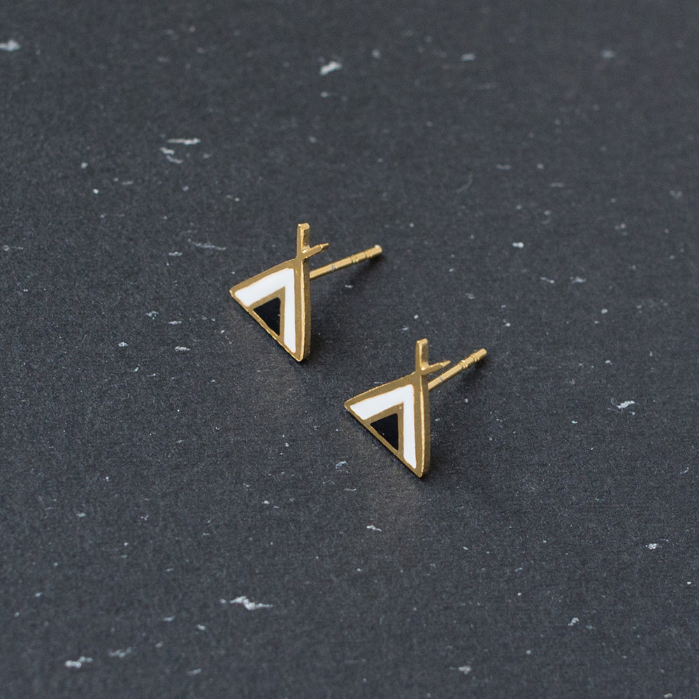 Handcrafted Mysterious Nomad Tribe Enamel Stud Earrings