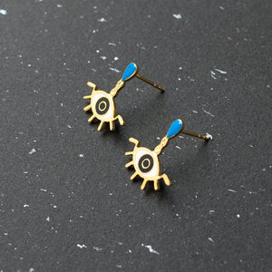 Handcrafted Mysterious Tear Evil Eye Enamel Stud Earrings