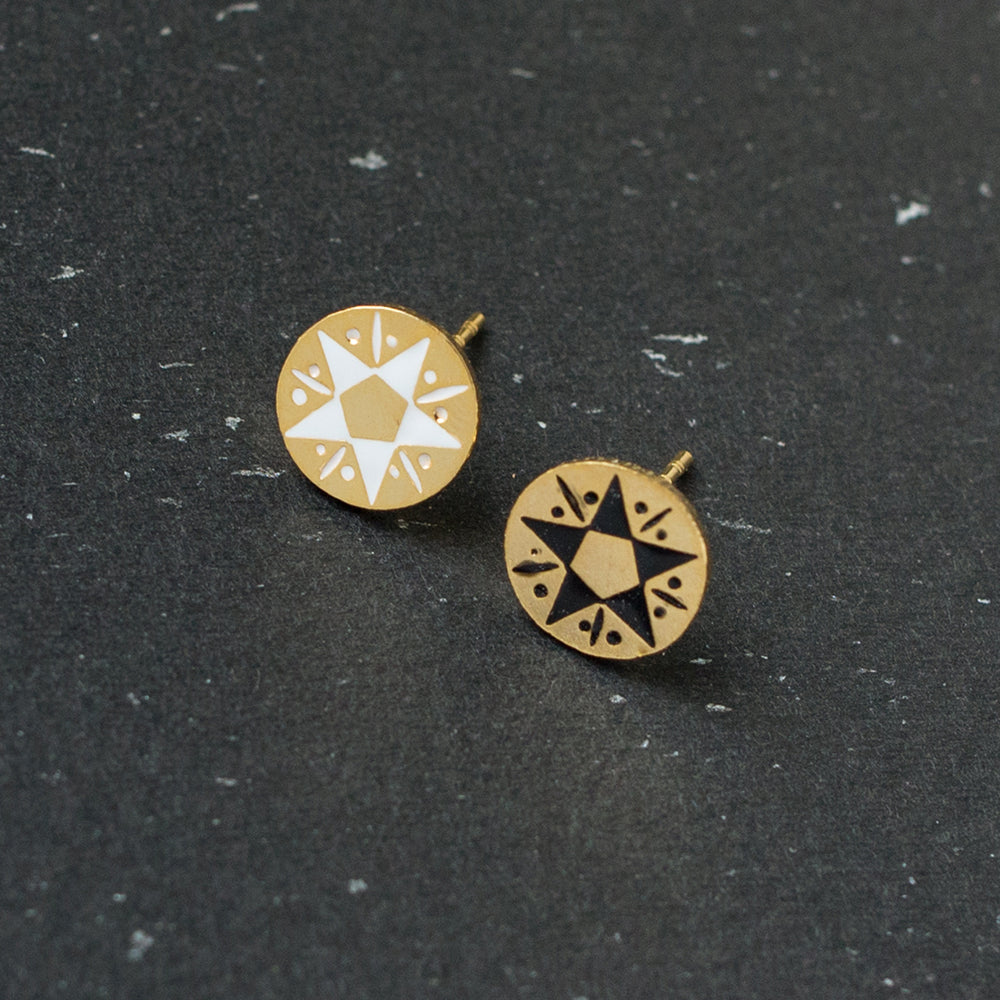 Handcrafted Mysterious Honor Enamel Stud Earrings