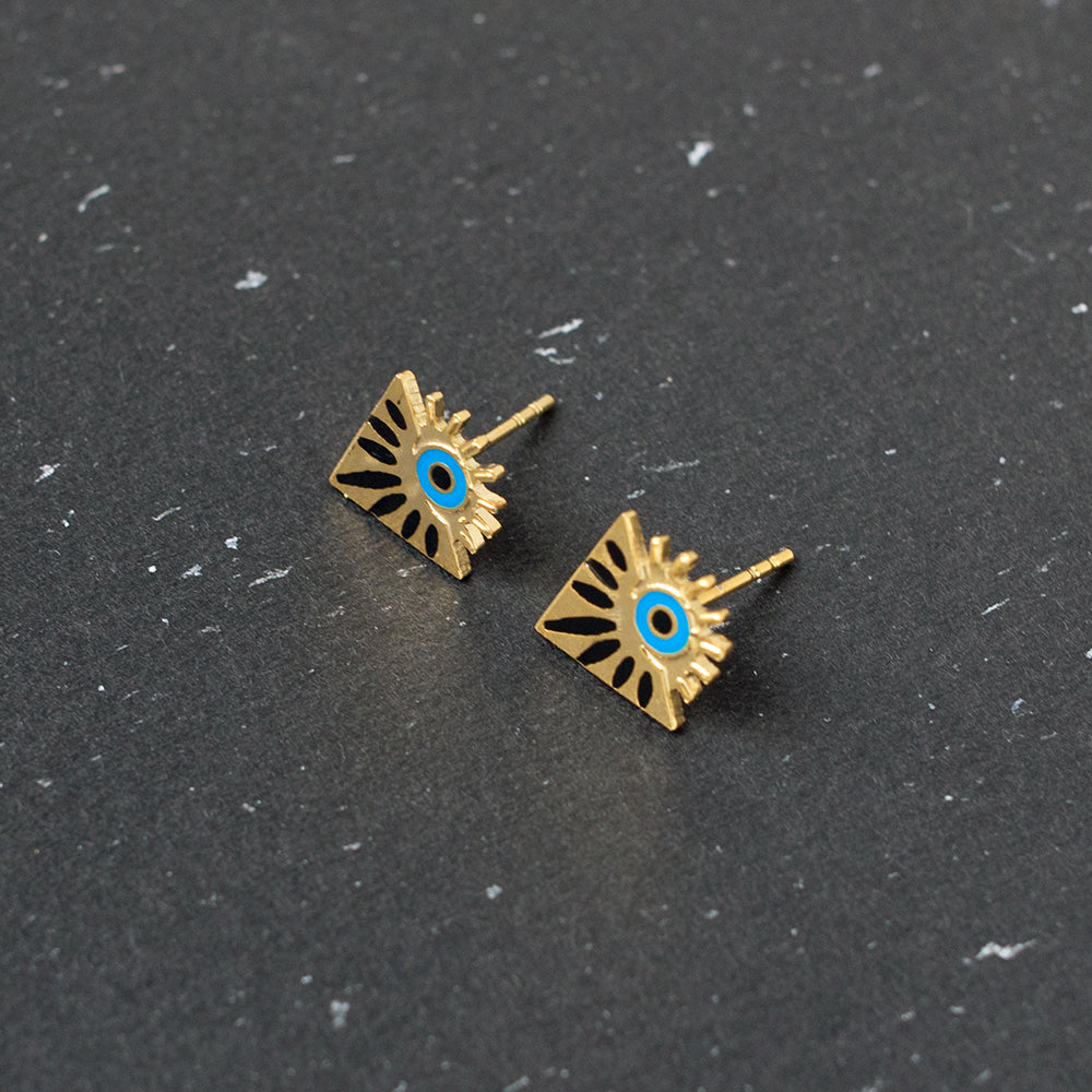 Handcrafted Mysterious Jealous Eye Enamel Stud Earrings