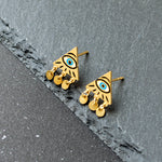 Handcrafted Mysterious Blue Evil Eye Enamel Stud Earrings