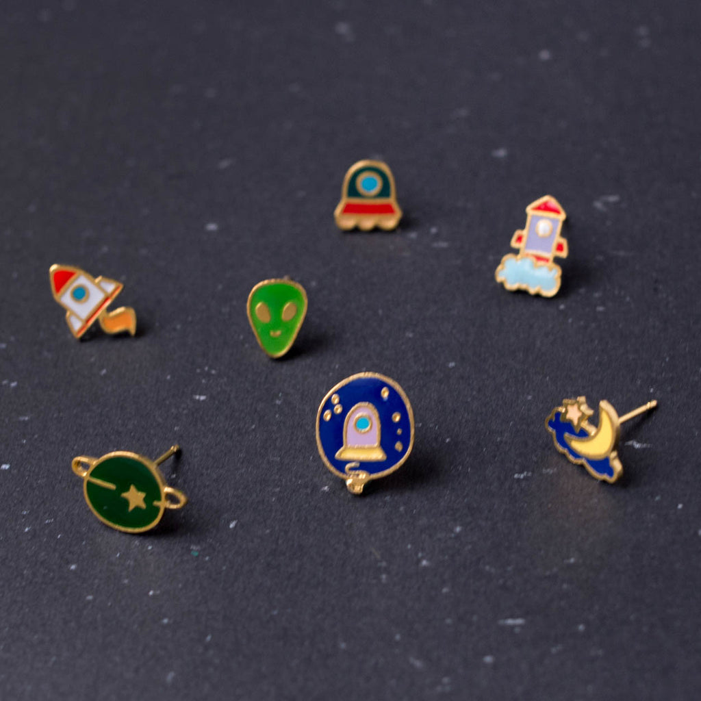Space Mission Mismatched Enamel Earrings