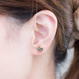 NEW! Diamond Heart Enamel Stud Earrings