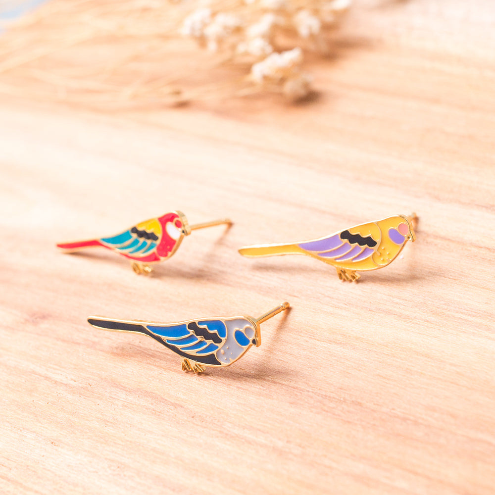 Long-tailed Parrot Rose Enamel Stud Earrings