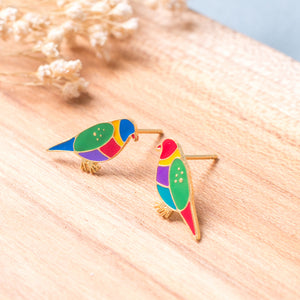 Loriinae Enamel Stud Earrings