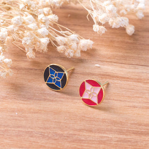 Flower Brick Enamel Stud Earrings