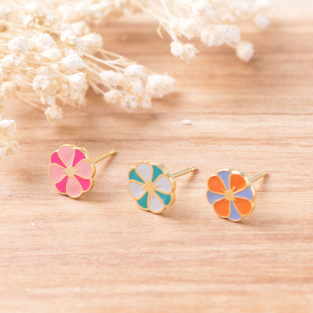 Dahlia Flower Enamel Stud Earrings