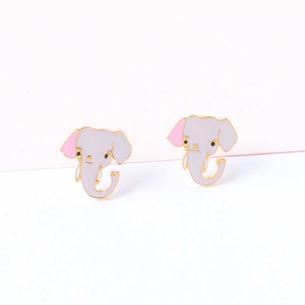 Handcrafted Sumatran Elephant Enamel Stud Earrings