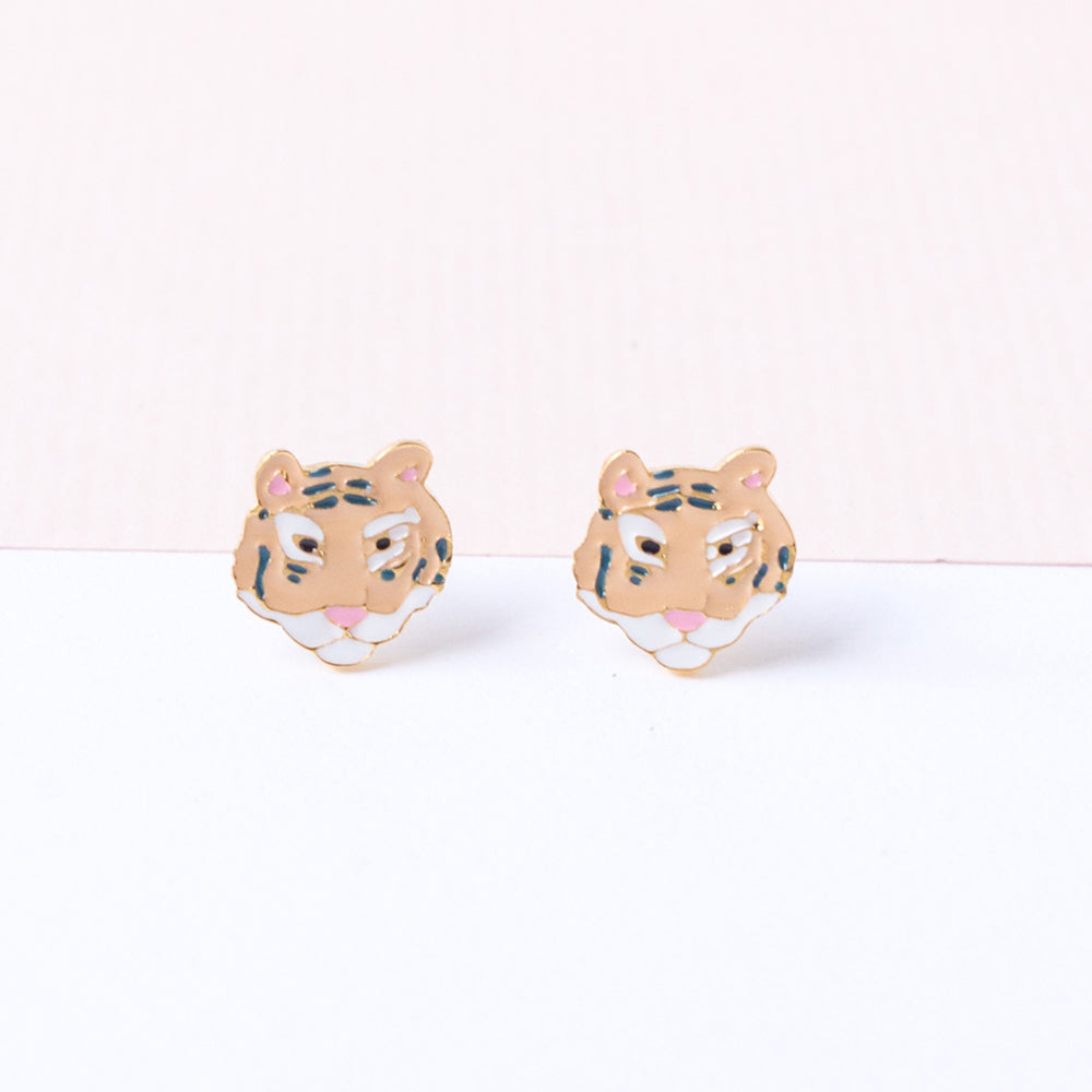 Handcrafted South China Tiger Enamel Stud Earrings