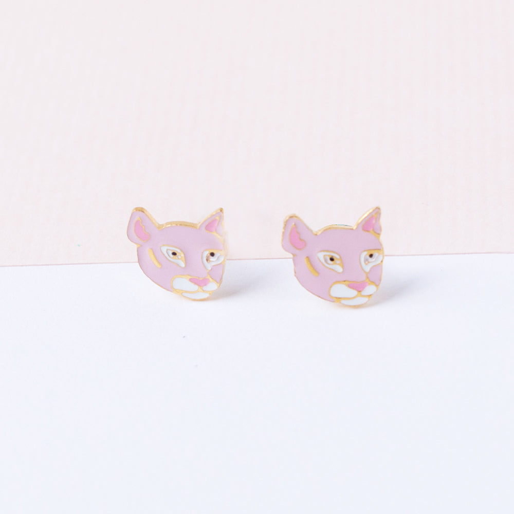 Handcrafted Florida Panther Stud Earrings