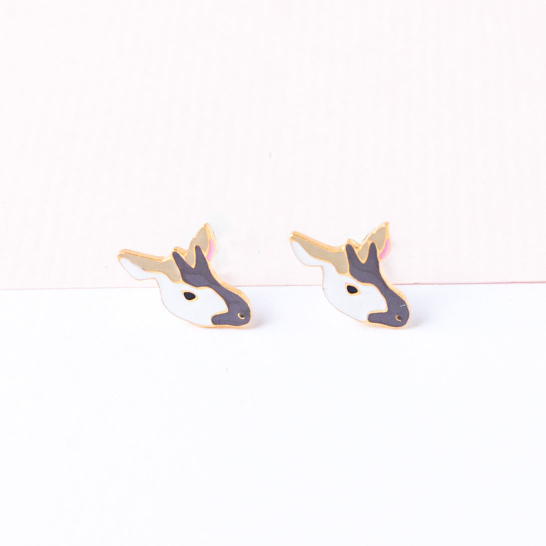 Handcrafted Okapi Deer Enamel Stud Earrings
