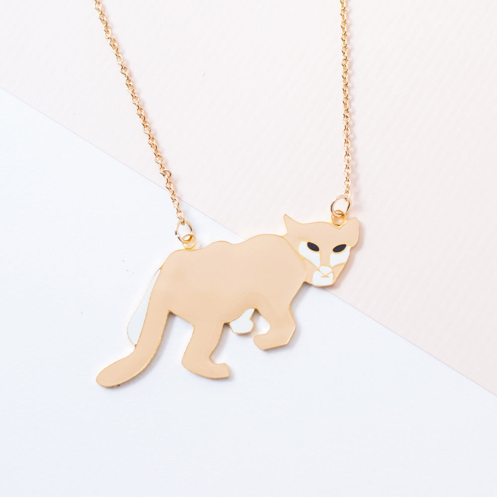 Miss Modi Handcrafted Florida Panther Enamel Necklace