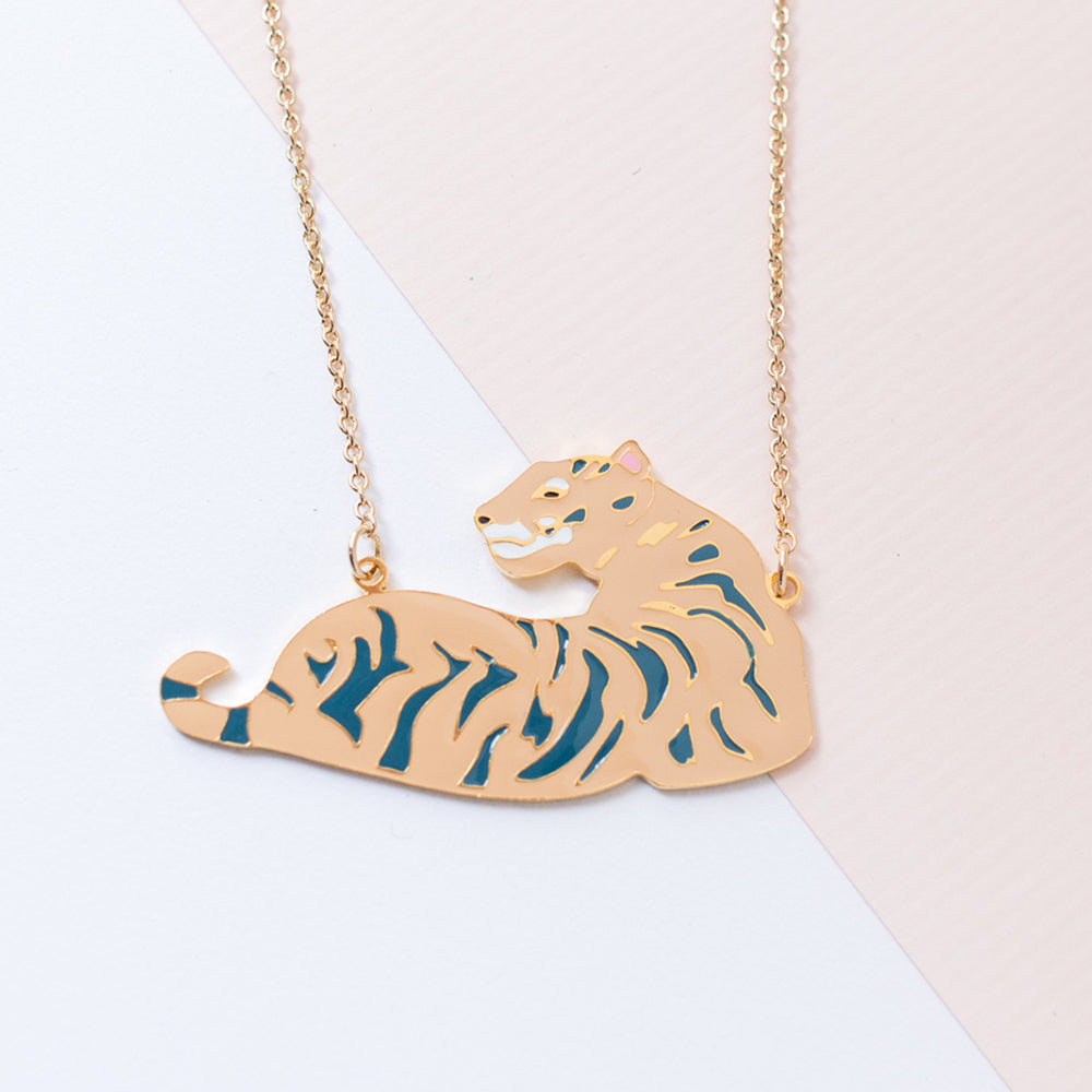 Miss Modi Handcrafted South China Tiger Enamel Necklace