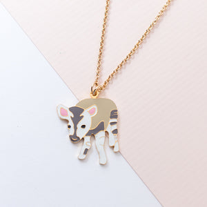Miss Modi Handcrafted Okapi Deer Enamel Necklace