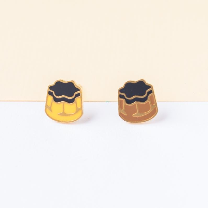 Taiwanese Flan Pudding Enamel Stud Earrings | Miss Modi