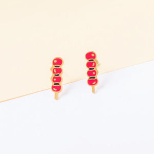 Bingtanghulu (candied fruit) Enamel Stud Earrings | Miss Modi