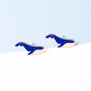 NEW! Blue Whale Enamel Stud Earrings