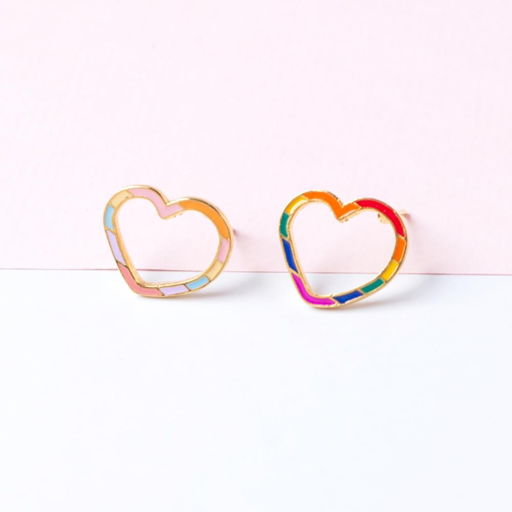 Handcrafted Hollow Heart Enamel Stud Earrings | Miss Modi