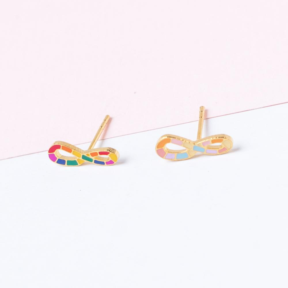 Handcrafted Infinite LOVE Enamel Stud Earrings | Miss Modi