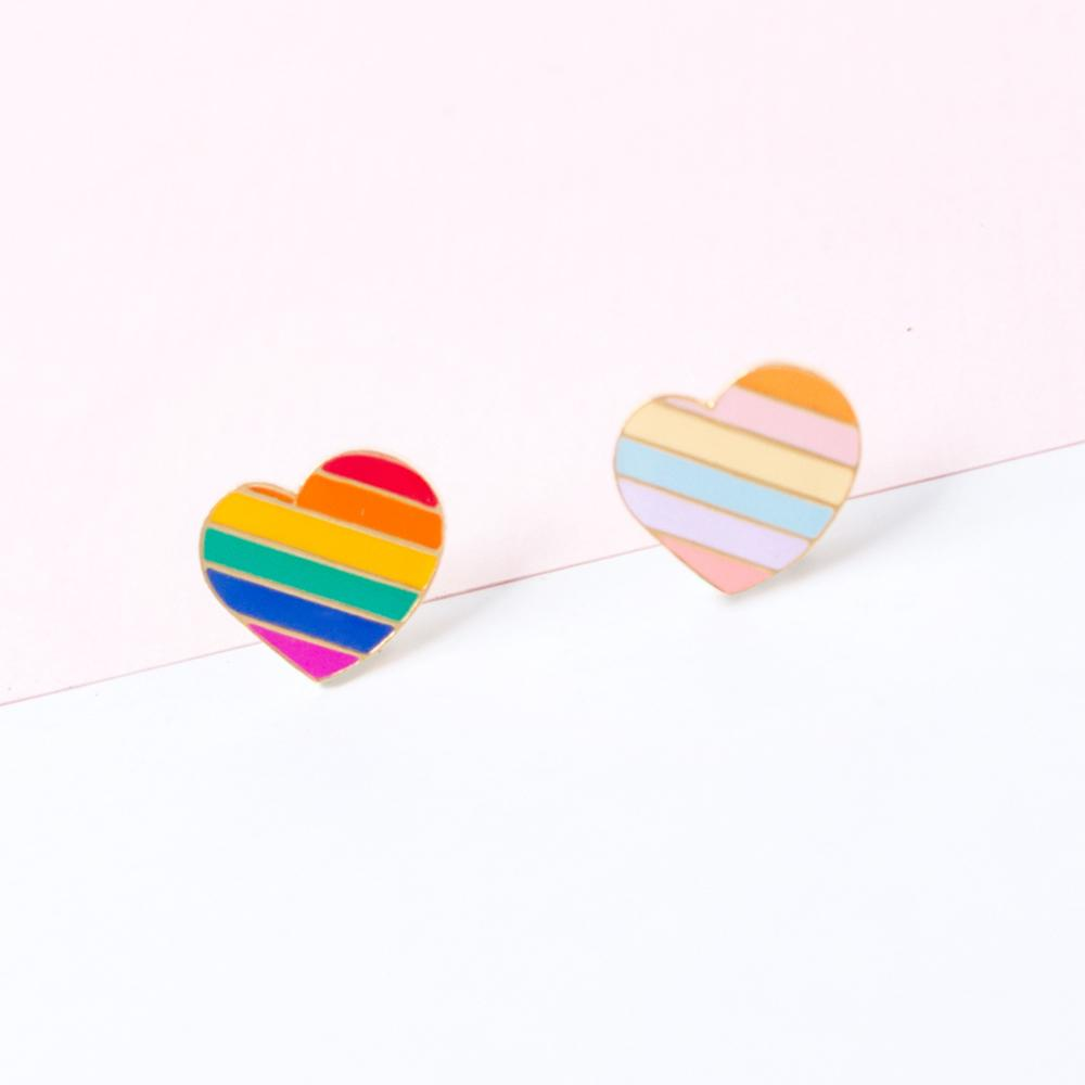 Handcrafted Rainbow Heart Enamel Stud Earrings | Miss Modi