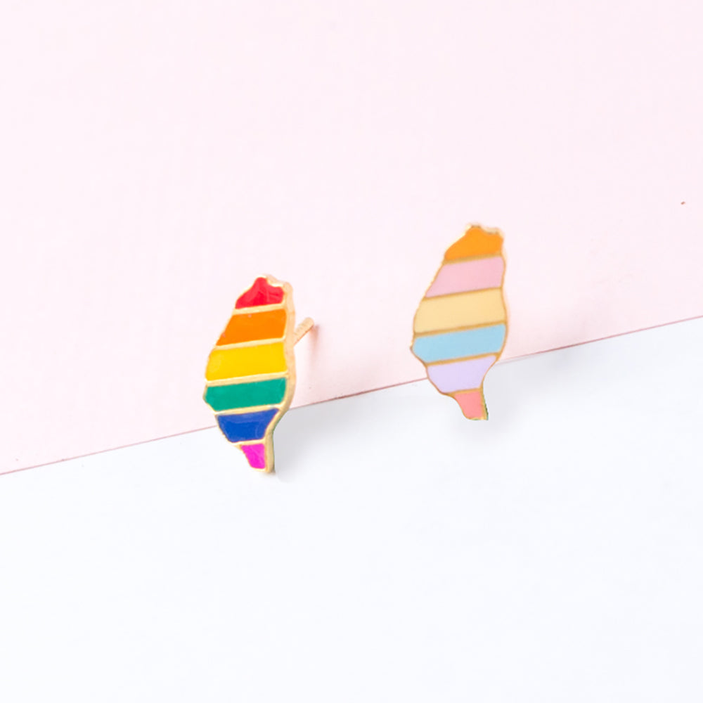 Handcrafted Rainbow Taiwan Enamel Stud Earrings | Miss Modi
