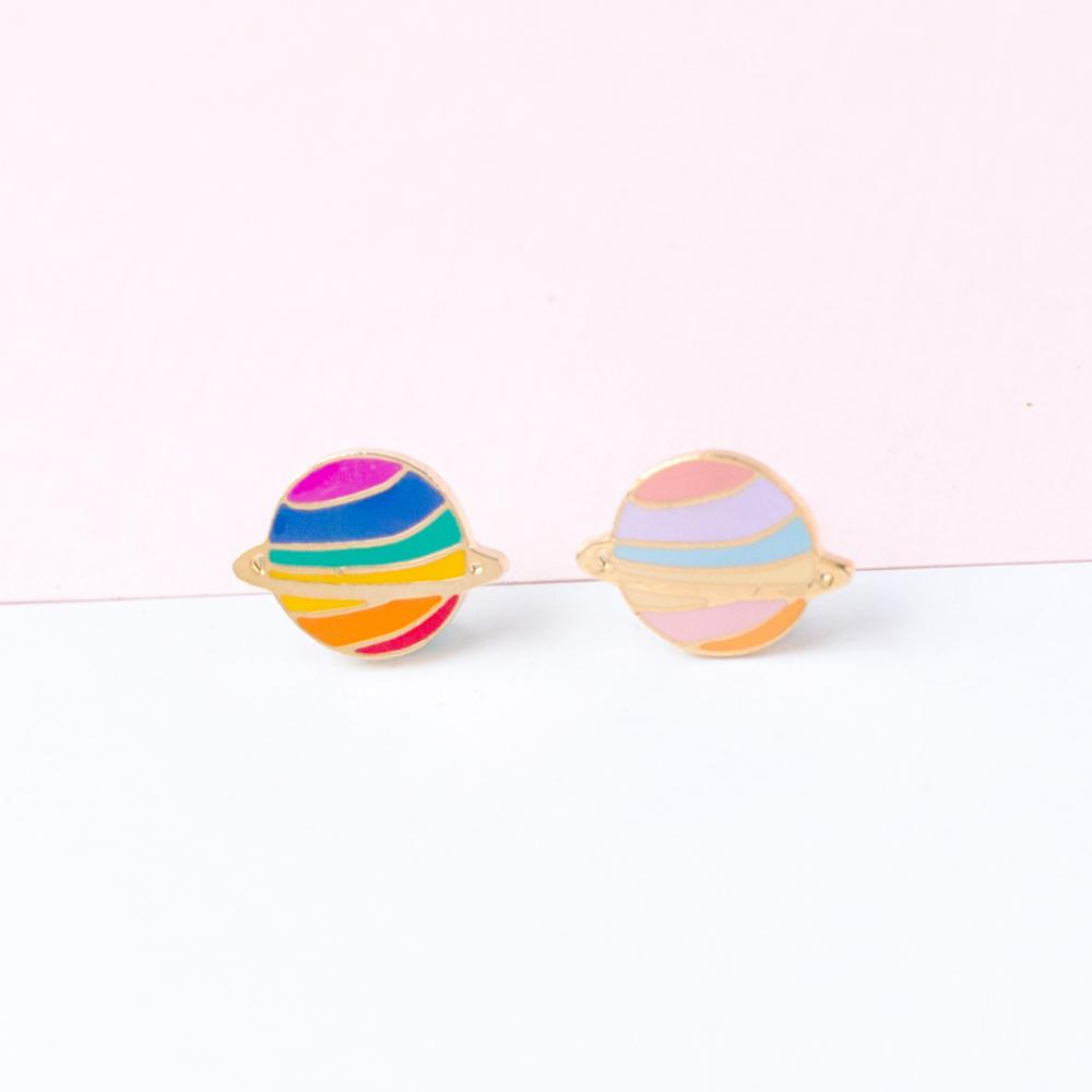 Handcrafted Rainbow Planet Enamel Stud Earrings | Miss Modi