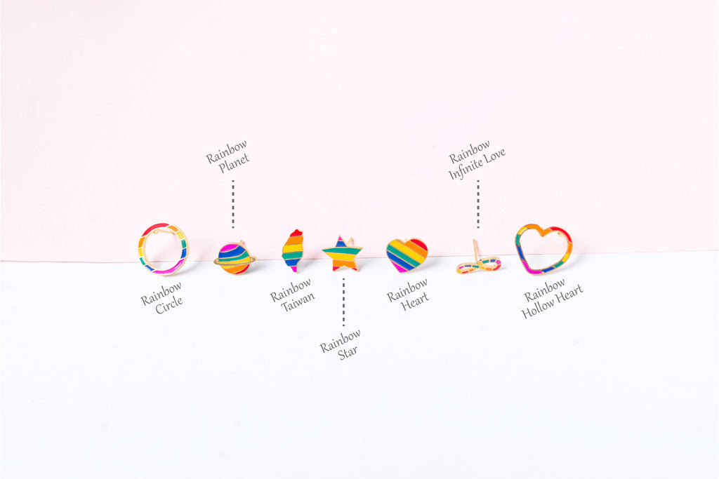 """LOVE is LOVE"" Mismatched Enamel Stud Earrings 