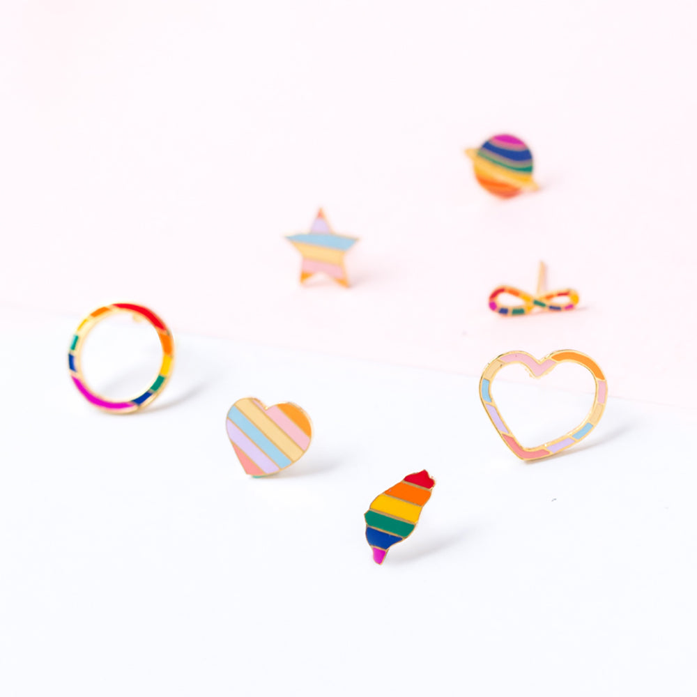 """LOVE is LOVE"" Mismatched Enamel Stud Earrings"