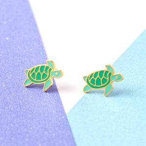 Handcrafted Sea Turtle Enamel Stud Earrings