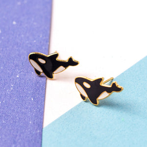 Handcrafted Killer Whale Enamel Stud Earrings