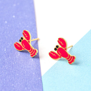 Handcrafted Red Lobster Enamel Stud Earrings