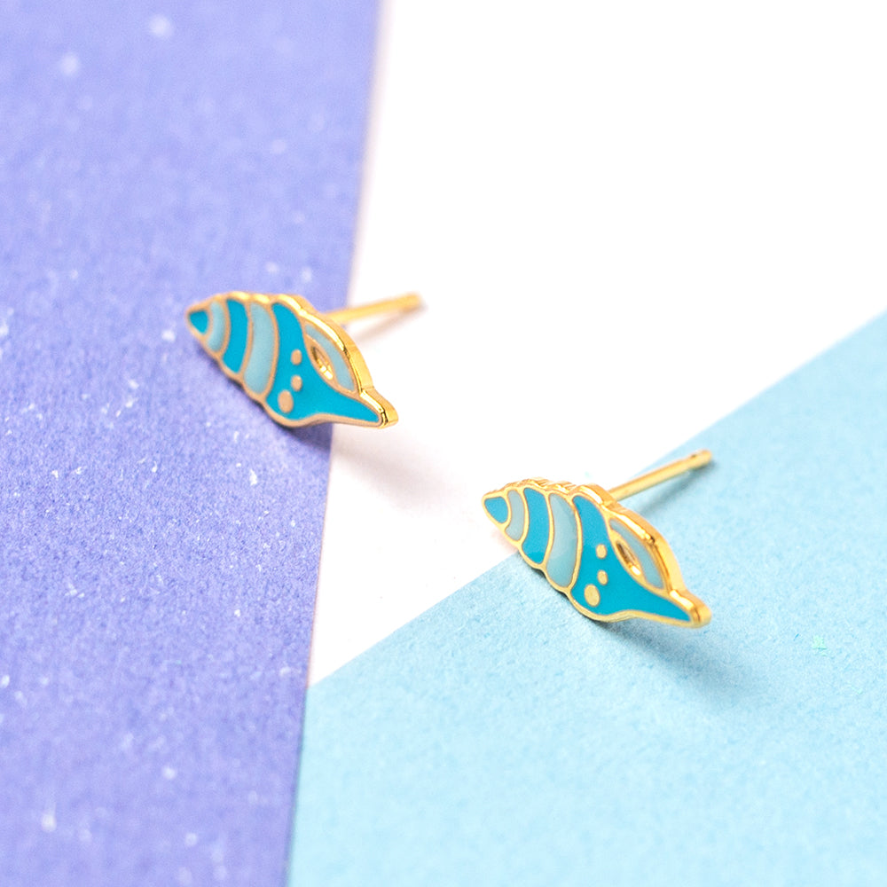 Handcrafted Conch Shell Enamel Stud Earrings