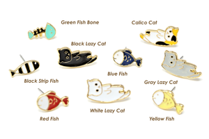 Fish n Lazy Cat Mismatched Enamel Stud Earrings
