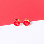 Fortune Bag Enamel Stud Earrings