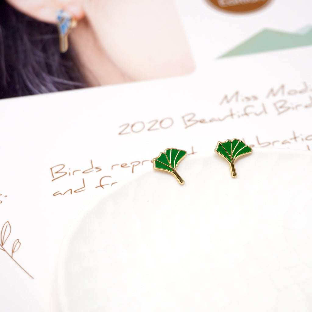 Ginkgo Leaf Enamel Stud Earrings
