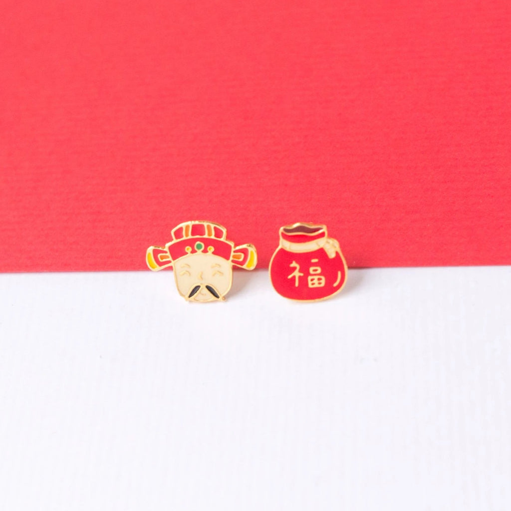 God of Wealth Enamel Stud Earrings