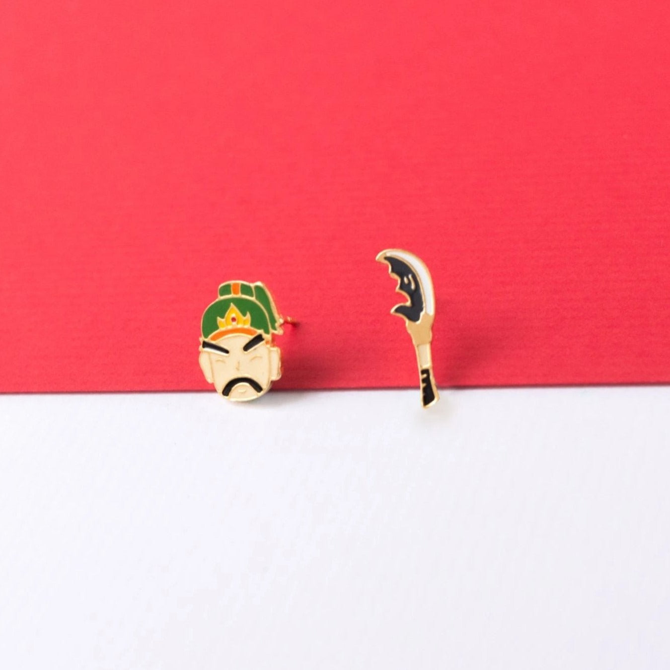 Guan Gong + Sword  Enamel Stud Earrings