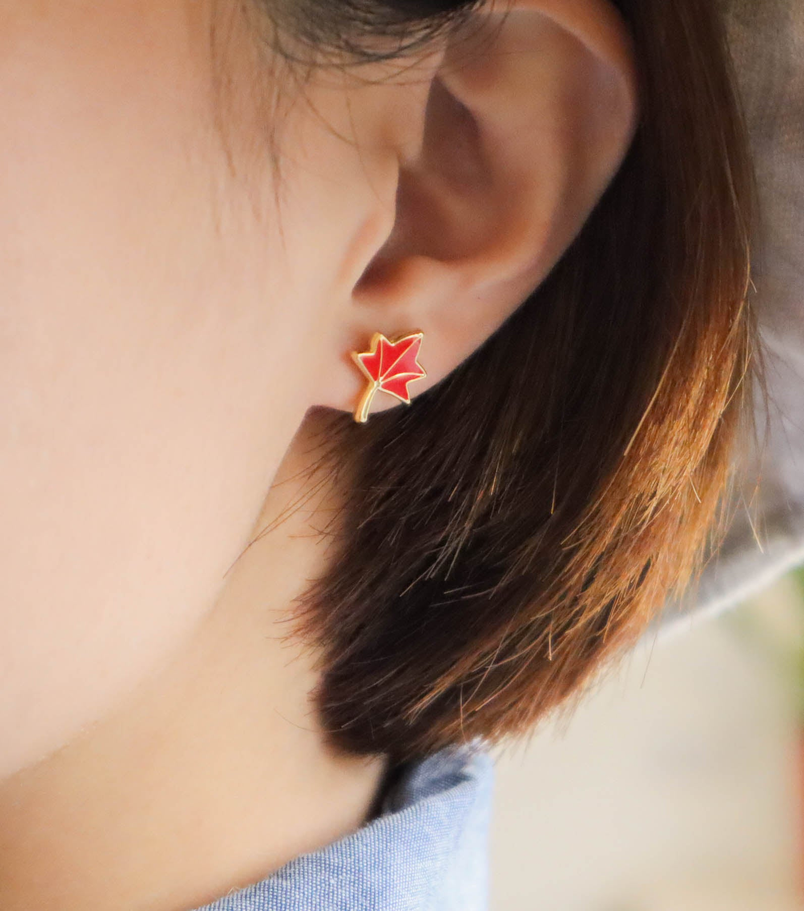 Maple Trail Enamel Stud Earrings