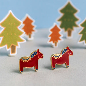 Dala Horse Red Enamel Earrings/ Bracelet/ Necklace [Limited]