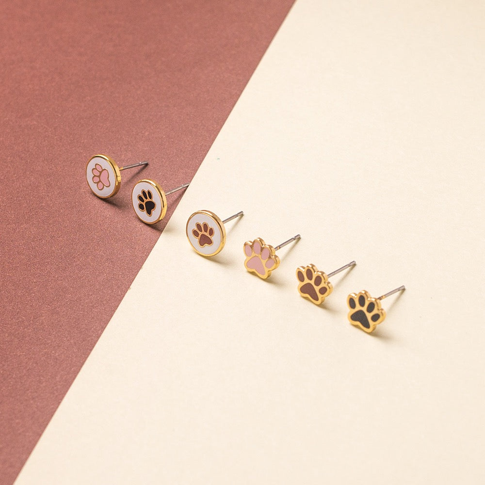 Doggy + Paw Mismatched Enamel Stud Earrings