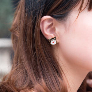 Husky Enamel Stud Earrings